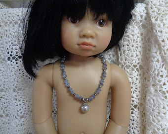 Lavender Glass beads Doll necklace