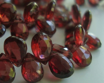 5-6mm, 10 pcs, Red Crimson Garnet Gorgeous Flashing Faceted Pear Briolette Beads, s18