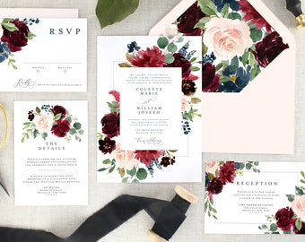 Floral Wedding Invitation Set - Fall Wedding Invitations - Burgundy Wedding Invitation Navy - Marsala Wedding Invitation Printed - Set of 10