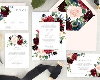 Printed Floral Wedding Invitation Set, Fall Wedding Invites, Burgundy Wedding Suite, Navy Blue, Marsala, Eucalyptus, Elegant - Set of 10