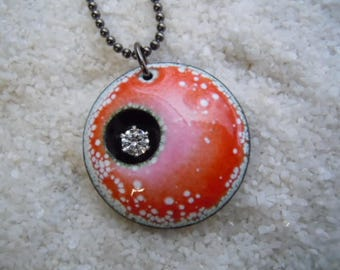 Speckled Pink and White Enamel Pendant  Artisan Jewelry