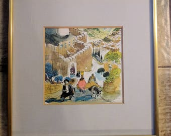 Original BARACH GREENBAUM Watercolor Ink Artwork Signed Israeli Art Judaica Art Wall Hanging