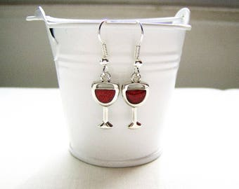 Red wine earrings - wine glass charm earrings - wine jewelry - red wine jewelry - mini red wine charms - red wine themed gift