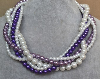 purple lavender white pearl necklace, five strands pearl necklace, bride necklace, wedding necklace, bridesmaids necklace, multicolor pearl
