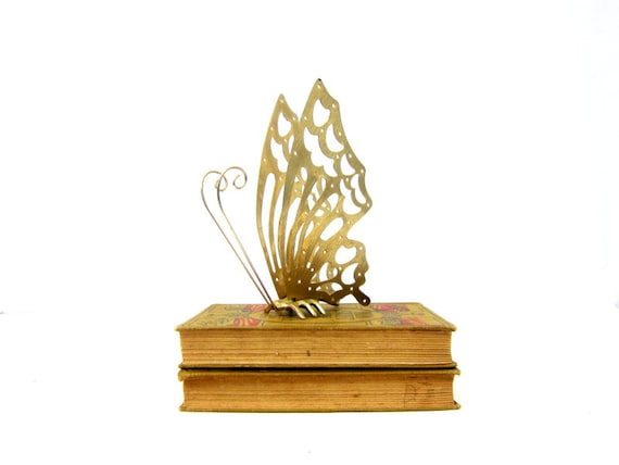 Vintage Gold Butterfly Shelf Sitter Decor Gold Metal Butterfly Boho Ranch Retro Home Decor