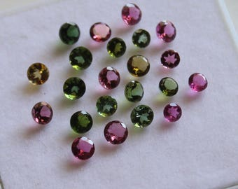 2 mm Round Multi-Color Tourmaline Faceted AAA Quality-Top Quality Tourmaline