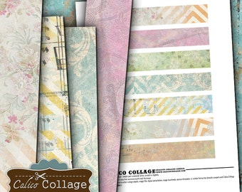 Pastel Strips Digital Collage Sheet 1x6 Border Images, Scrapbooking, Art Journal, Digital Download, Digital Borders, Digital Strips