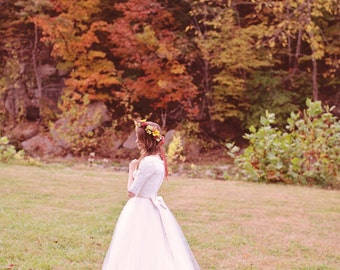 Long Sleeve Lace Wedding Dress Modest tulle Ball Gown, Michelle Style, Custom Made in your size