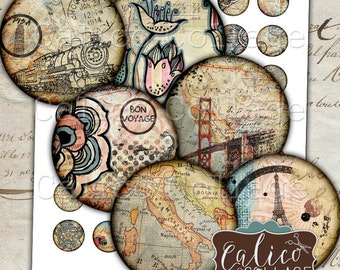 Printable, Travelin' Through, Bottlecap Images, 1 Inch Circles, Travel Collage Sheet, Images for Pendants, Traveling Images, Wanderlust