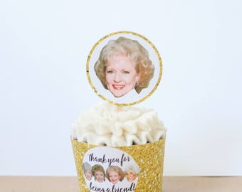 DIY Printable Golden Girls Gift Tags or Cupcake Toppers - Cake - Dorothy- Blanche- Rose- Sophia- Golden Girls Party- Birthday Party- Reunion