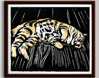 Cat, Linocut Print, Block Print, Linoleum Print, Lino Cut Print, Relief Art Print, Wall Art, Christmas, Gift Idea, Gift, For Him, For Her