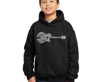 Boy's Hooded Sweatshirt - Country Guitar Created using the some of Country Music's Most Legendary Names.