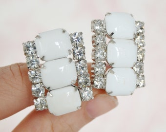 Vintage Clip-On Earrings with White Milk Glass and Clear Rhinestones