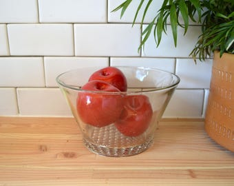 Three Vintage Ceramic Apples In A Vintage Crystal Bowl