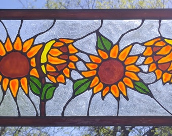 4 Sunflowers stained glass window in copper frame