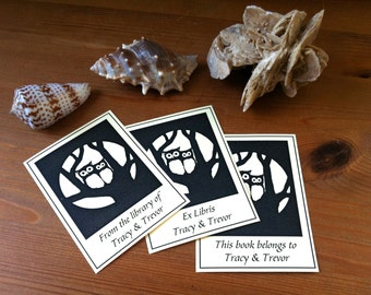 Love Owls Wedding Gift 50 Personalized Booklabels Ex Libris Bookplates