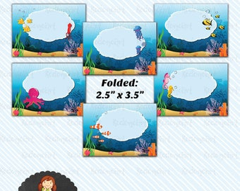 Digital Printable Under the Sea Food Label/ Table Tent/ favor tag - Instant Download