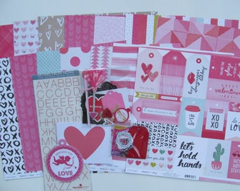 6 Page Valentine Class Kit with Layout Instructions, Scrapbook Pages, Scrapbooks, Layouts, Paper Crafting, Scrapbook Page Kits