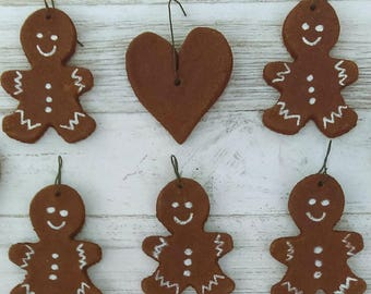 "Handmade Gingerbread Boy and Heart Ornaments/ Set of 10 Miniature 2""- 2.5"" Christmas Ornaments/ Primitive Holiday Decor/ Gift Basket"