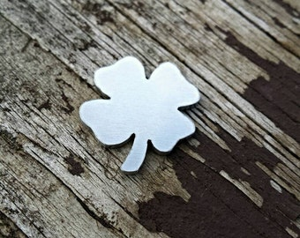 Aluminum Clover Stamping Blanks, aluminum Stamping blanks, hand cut stamping blank, custom cut stamping Supplies, four leaf Clover, QTY 5
