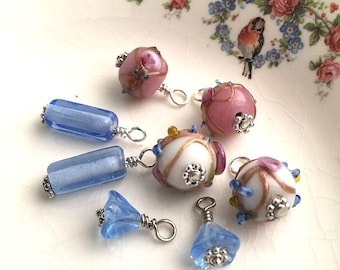 Bead destash 8 handbeaded drops dangles jewelry making, Boho Mix, blue flower, pink and white glass lampwork beads, silver wires Lot #14
