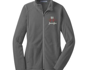 RN Full Zip Fleece Jacket. RN Nurse Microfleece Jacket. Custom Nurse Jacket. Personalized Nursing Jacket. Design 3A - L223