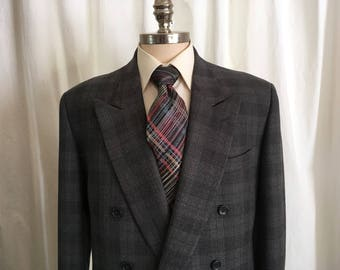 80s Designer Vintage Mens' Jacket, Firma by Andrew Fezza, Double Breasted w Peaked Lapels, Two Tone Gray Wool Plaid w Brown Thread, 41 Long