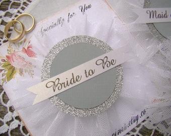 Future Mrs, Wedding Party Pins, Custom Name Bridal Shower Pins, Silver Glitter Gray, Bride Badge, Bride Pin Bride Corsage, Wedding Shower