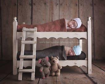 Digital backdrop bunk bed, newborn, boy, girl, twins