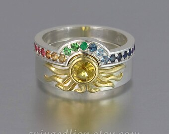 SUN and RAINBOW rings in 18k & silver with Yellow Sapphire