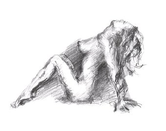 Naked Girl Pencil Sketch Art Print S04