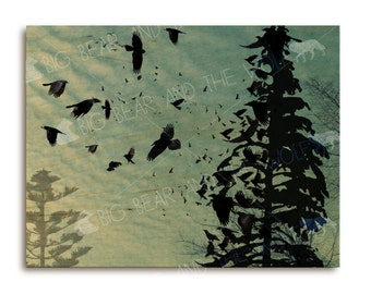 Shapeshifting crows on wood art print, tree silhouette with crows / ravens