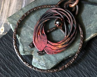Copper Statement Necklace, Tribal Necklace, Bohemian Necklace, Copper Rustic Necklace Pendant, Hammered Handmade Copper Jewelry, Mom Gifts