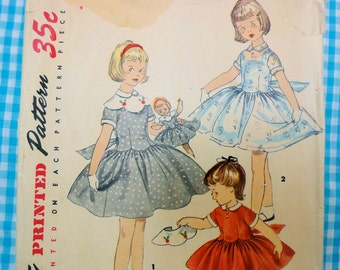 Rare Vintage 1955 Simplicity 1367 Sewing Pattern, Childs Dress, Matching Doll Dress for Sweet Sue and Binnie Dolls, Size 5