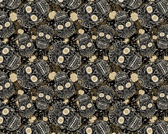 Sugar Skull Bloom in Black  by David Textiles, yard