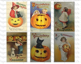 Vintage Halloween Postcard Digital Download Collage Sheet B 2.75 x 4 inch