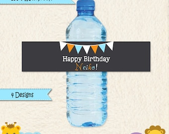 Orange Blue and White Water Bottle Labels 100% Waterproof in Chevron Polka Dots and Stripes Custom Colors and Wording Party Decoration D001B