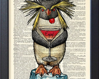 Penguin print, Funny art drink Martini poster, whimsey home bar wall decor, gift, book page print, CODE/223