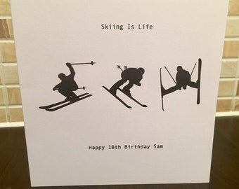 Skiing Card Personalised Card Birthday Ski Snow Holiday Skis Decor Any Occasion Snow