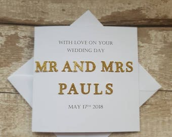 Personalised Wedding card -  handmade wedding card -handmade personalised wedding card - gold wedding card
