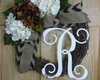 spring wreath - summer wreath - monogram wreath -  hydrangea wreath -housewarming gift - mothers day