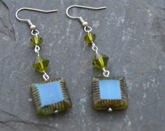 Turquoise  and Olive Green Square Earrings