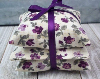Lavender Sachets - Purple Flower Print Lavendar Drawer Freshener - Aromatherapy Bags - Shower Favor - Hostess Gift - Moth Repellent