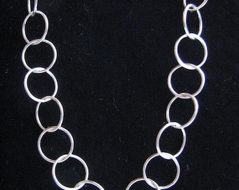 Sterling Silver 10mm Cable Link Chain Necklace 24 inch