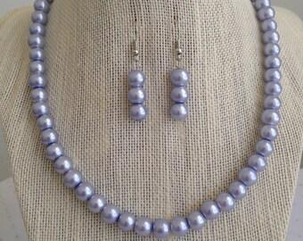 Lilac Purple Necklace, Lilac Wedding Jewelry, Purple Pearl Necklace, Lavender Wedding Jewelry, Bridesmaid Gift, Purple Bridesmaid Necklaces