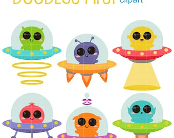 Cute UFOs Digital Clip Art for Scrapbooking Card Making Cupcake Toppers Paper Crafts