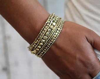 Stretch Bead Bracelet, Gold Bracelet, Bracelet Set, Yoga Bracelet, Gold  Bead Stretch
