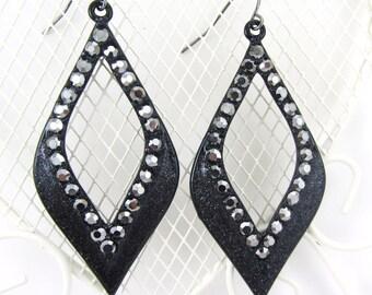 Black Sparkly Dangle Earrings