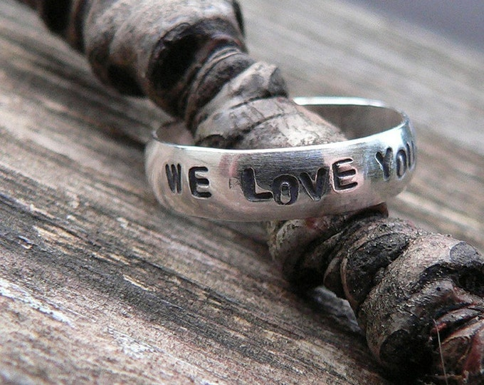 Custom Hand Stamped Domed Ring - Solid Hand-Forged Sterling Silver - Customizable - Your Message - Inside or Outside - Choice of Font