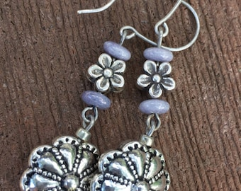 Flower Power Purple and Silver Long Dangle Earrings with Antique Silver Handmade Earring Hooks